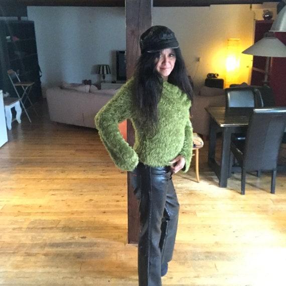 Vintage Indian Rose black leather pants - image 3