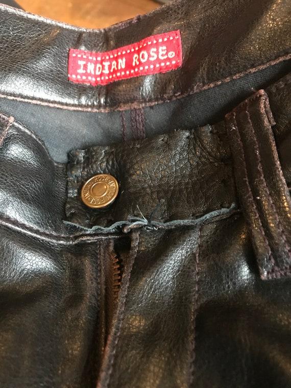 Vintage Indian Rose black leather pants - image 5