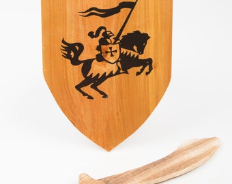 Wooden Sword and Shield Set; Knight on a horse set, Toy sword and shield; Children toys, handmade wooden toy set, Gift; Wooden Toy Set