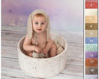 Hat with bunny ears  | Sitter bunny bonnet | Fuzzy bunny hat| Sitter bunny hat| Sitter photo props | Easter props |  Sitter animal bonnet