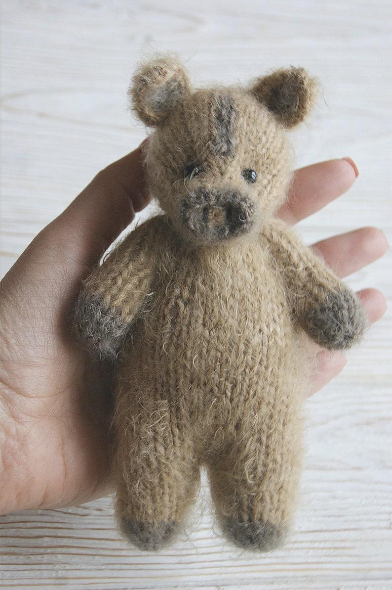Knit boar toy Newborn photo toy Newborn props toy Bonnet and toy Newborn Photo Prop Wild Boar Set  of 2pcs