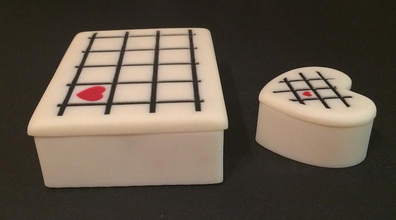 Vintage Soapstone Trinket Box Valet Case Set Lot Large Rectangle Etched Heart Checkered 5.5 Lidded NEW