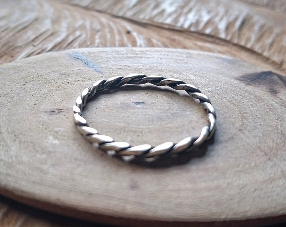 braided silver 925 ring, hand forged in sterling silver, high quality