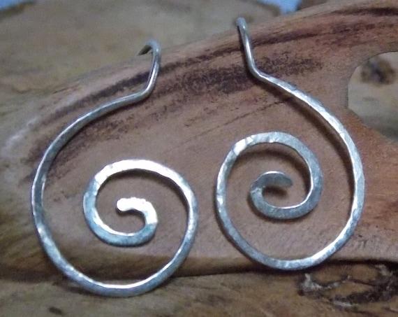 "Silver 925 earrings ""spiral"", earrings in sterling silver, hammered"
