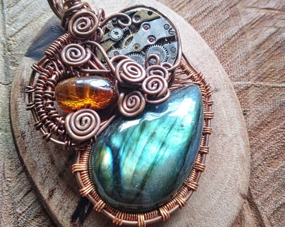 Upcycled copper pendant with labradorite stone, amber and fine movement, steampunk