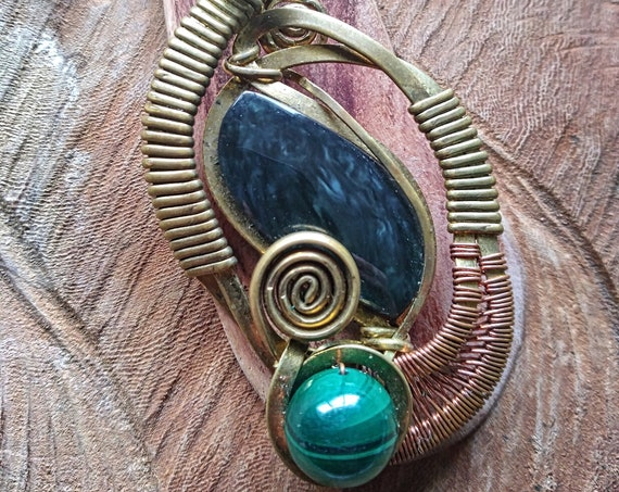 Rainbow obsidian chain pendant with malachite, copper and brass, wrapping