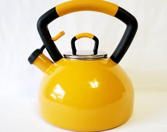 Vintage Yellow KitchenAid Whistling Tea Kettle in excellent condition, inside and out. Stylish, heavy duty, loud and bright.