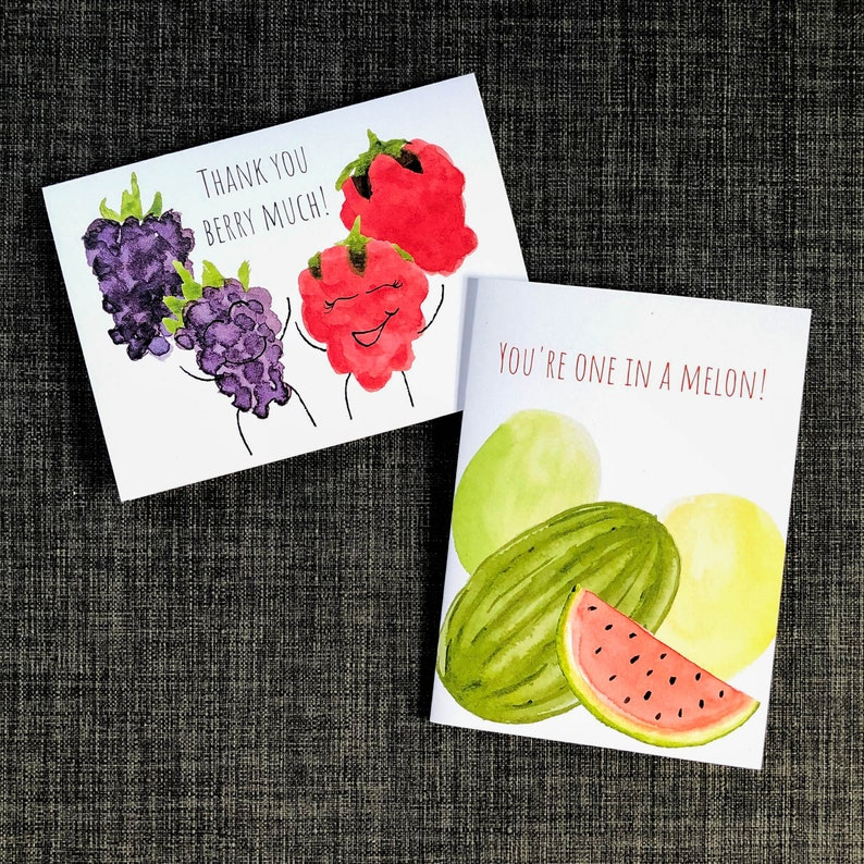 Hand Painted Watercolor Card Berry Joke Thank You Card Food Pun Card Thank You Berry Much Funny Berry Card Cute Thank You Card