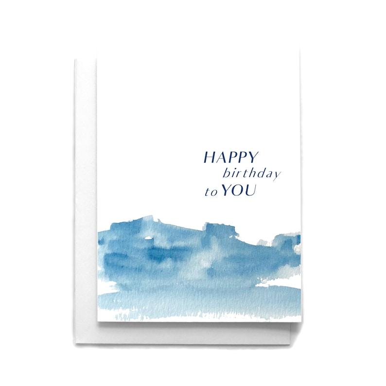 Watercolor Greeting Card Happy Birthday Abstract Watercolor Birthday Card Birthday Greeting Card
