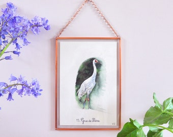 Bird painting - crane bird painting - animal watercolor - watercolor painting - copper frame - mothers day gift- free delivery in france