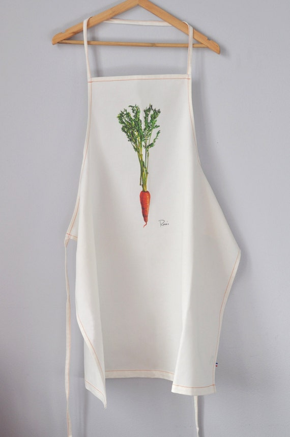 Organic Apron printed with a printed Apron carrot -from an original painting ed0124