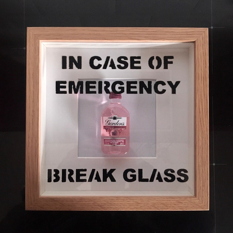 Pink Gin In Case Of Emergency Break Glass frame. Perfect image 0