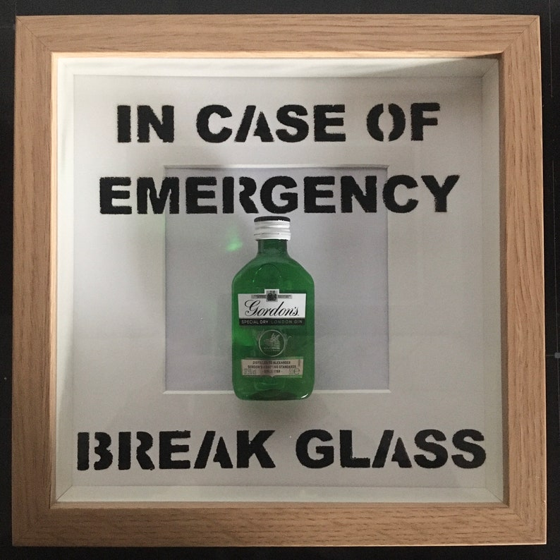 Gordons Gin In Case Of Emergency Break Glass frame. Perfect image 0