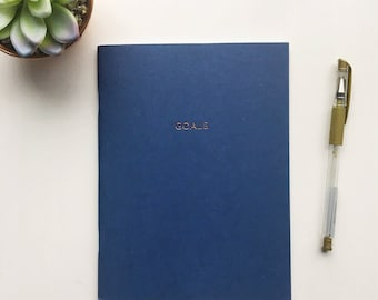 Beautiful navy 'goals' notebook