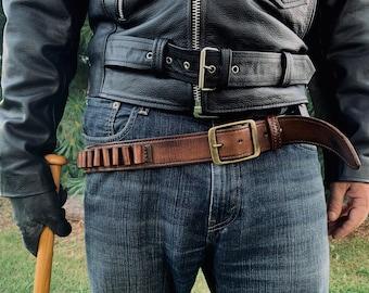 The Walking Dead, Negan, Cartridge Belt, Vintage-Looking Leather Belt, 100% Genuine Leather Belt