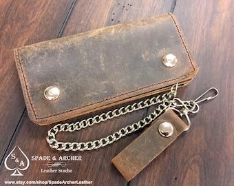Vintage Looking Leather Biker Wallet / Leather Chain Wallet / Leather Trucker Wallet  / Leather Snap Wallet / Leather Biker Wallet / Wallet