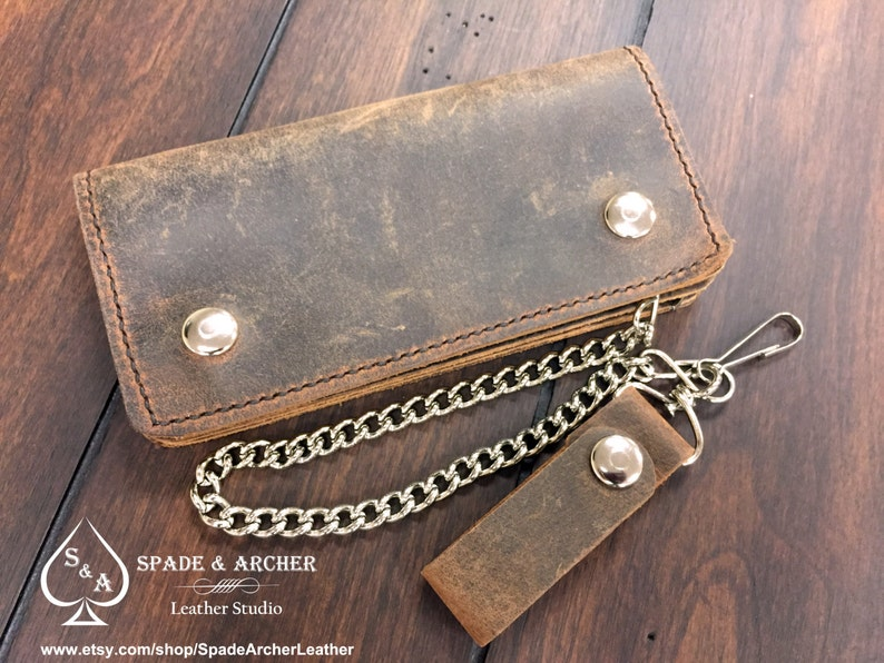 79fd7d5e5539 Vintage Looking Leather Biker Wallet / Leather Chain Wallet / | Etsy