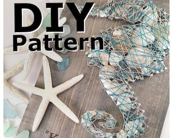 String Art. String Art Pattern. Seahorse String Art. sea shell decor. beach decor.  seahorse wall decor. sea shells home decor. ocean art