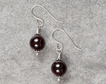 Garnet and Sterling Silver Drop Earrings (051)