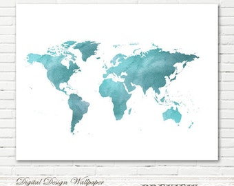 Teal world map etsy watercolor world mapworld map watercolorprintable watercolor world mapworld map artworld map wall artinstant downloadteal watercolor gumiabroncs Images