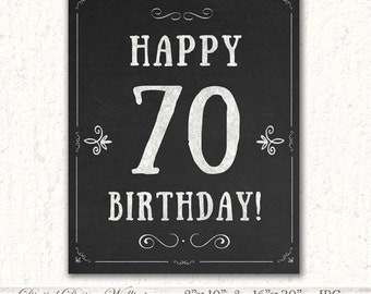 70th Birthday Party Decoration Printable 70th Anniversary
