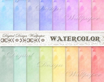 Watercolor Digital Paper,Watercolor Digital Paper Pack,Digital Paper Watercolor,Scrapbook Paper,Watercolour,Rainbow Colored Watercolor