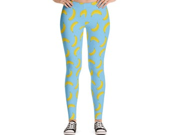 Banana Yoga Leggings - Workout Leggings - Colorful Leggings - Fun Tights - Festival Leggings - Running Leggings - Yoga Pants