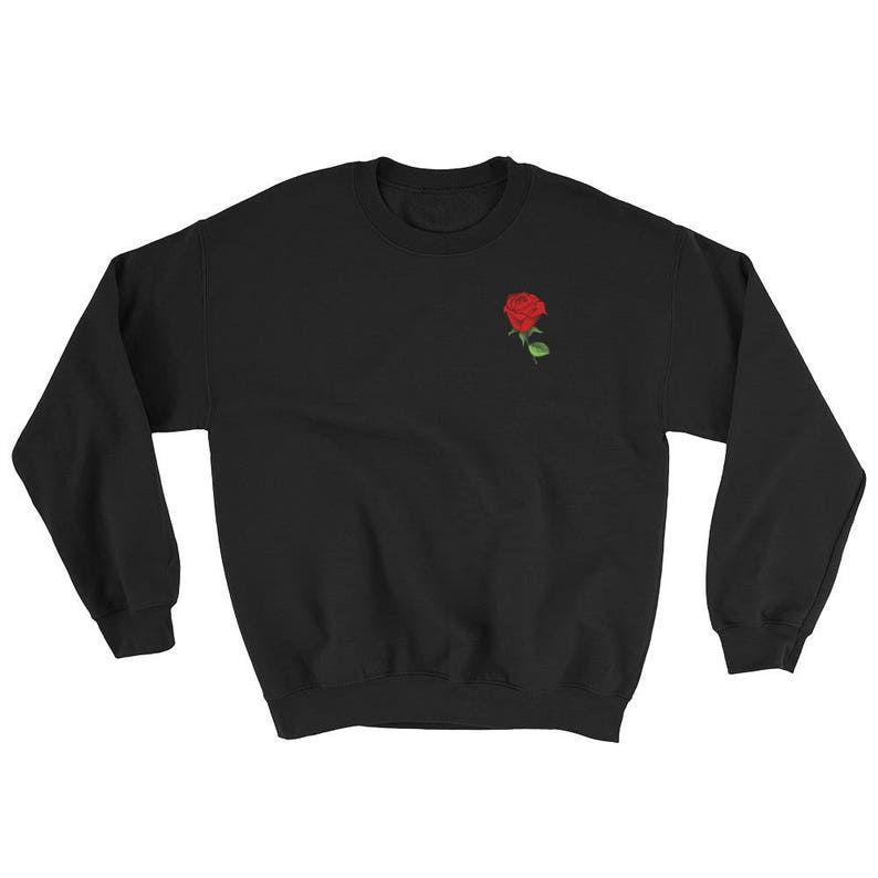 343af2f38 Vintage Rose Pocket Crewneck Sweater Roses Shirt Flower