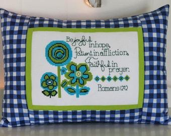 Cross Stitch Pattern - Modern Flowers Bible Verse - Instant Download PDF Pattern