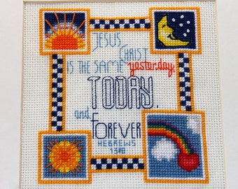Counted Cross Stitch Sun and Moon Sampler - PDF Instant Download - Cross Stitch Pattern
