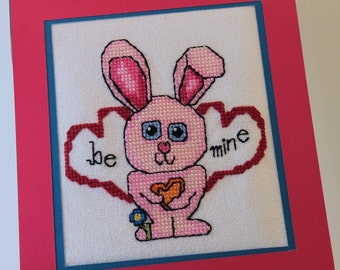 Counted Cross Stitch -Pink Valentine Bunny - Instant Download PDF