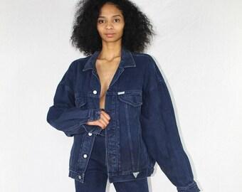 Vintage Guess Denim Jacket Size XL | 80s Denim Jacket | 80s Jean Jacket | Vintage Denim Jacket | Denim Coat | Vintage Jacket