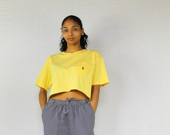 2e49c0af16e842 Vintage Polo Crop Top Size Large Yellow - Ralph Lauren Cropped T-Shirt
