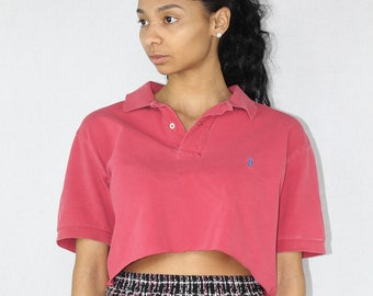 ce40217927d06f Pink Polo Crop Top Cropped Shirt Ralph Lauren Polo Ralph Lauren Top Polo  Neck Polo Shirt Cropped Polo Pink Cop Top