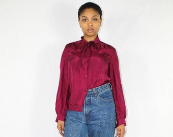 Vintage Silk Blouse Women's Size 8 Fuchsia | Vintage Silk Shirt | Silk Top