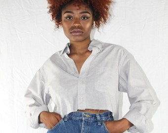 Vintage Cropped Blouse Vintage Crop Top Women's Button Down Shirt Cropped Shirt 90s Crop Top Collared Crop Top