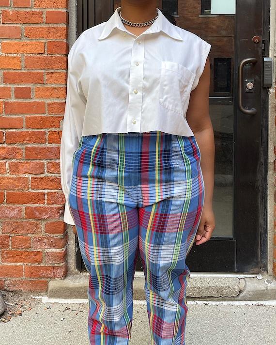 Vintage 80s Multicolor Plaid Trousers (M/L) - Hi-… - image 5