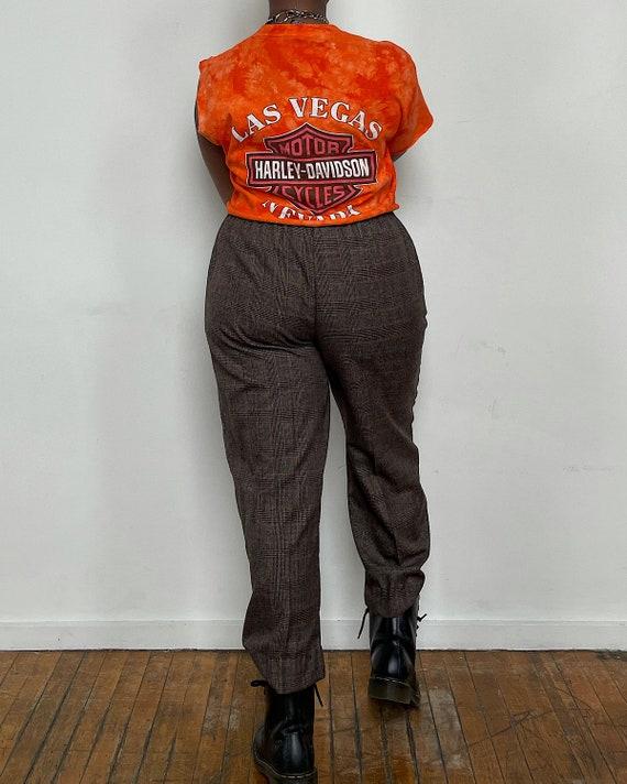 Vintage Brown Plaid Easy Trousers - Hi-Rise Taper… - image 4