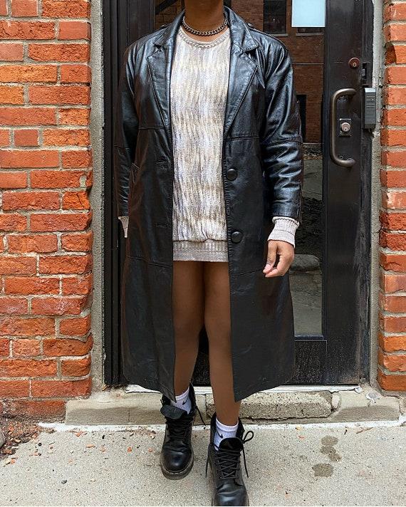Vintage 80s Leather Coat (S) - Charles Klein Black
