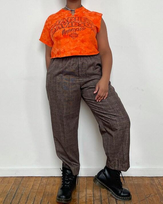 Vintage Brown Plaid Easy Trousers - Hi-Rise Taper… - image 2