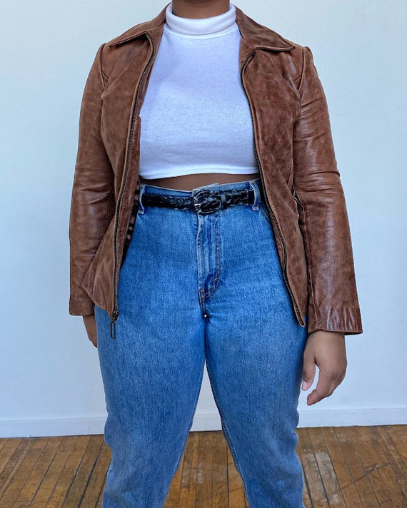 Vintage 90s Guess Brown Leather Jacket (XS-M) - Br