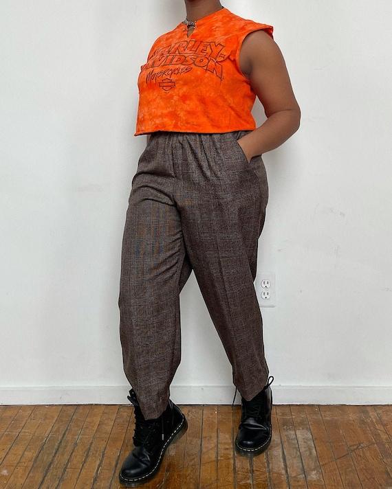Vintage Brown Plaid Easy Trousers - Hi-Rise Taper… - image 1