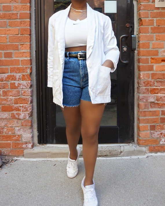 Vintage Oversized White Blazer - Medium Cotton Ov… - image 1