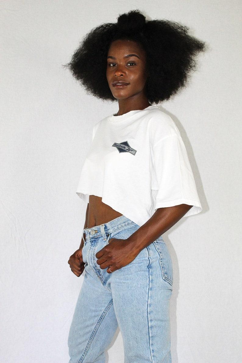 bb46926acb346d Vintage White Reebok Crop Top Size Large Cropped Shirt Retro