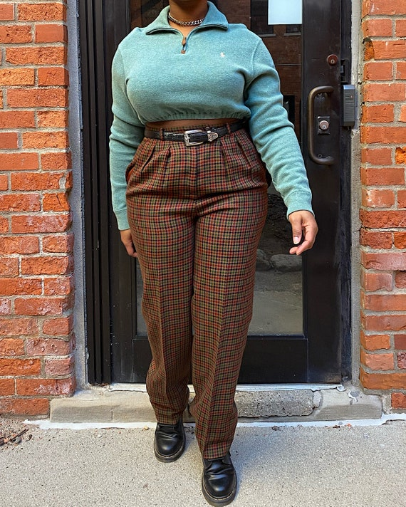 Vintage 80s Plaid Trousers (28) - Field Manor Plai