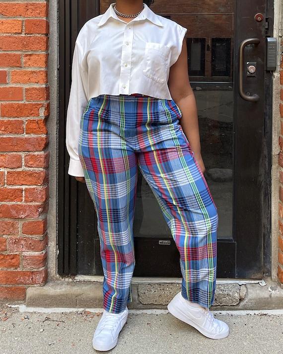 Vintage 80s Multicolor Plaid Trousers (M/L) - Hi-… - image 4