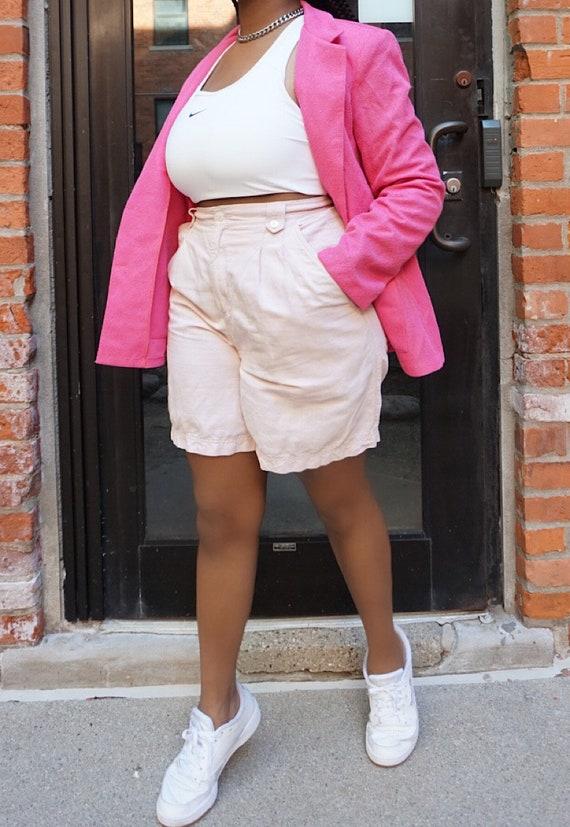 Vintage Blush Pink Linen Mom Shorts - Liz Sport Hi