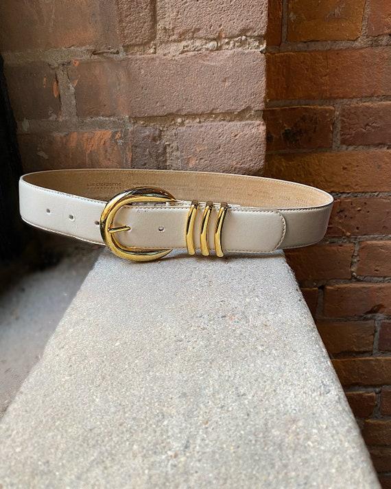 Vintage Cream Liz Claiborne Leather Belt (S) - Liz