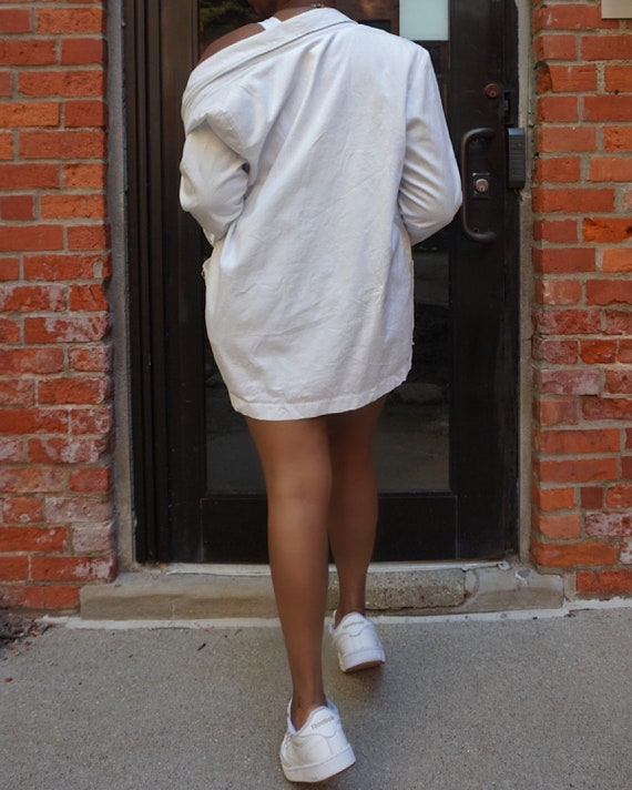 Vintage Oversized White Blazer - Medium Cotton Ov… - image 3