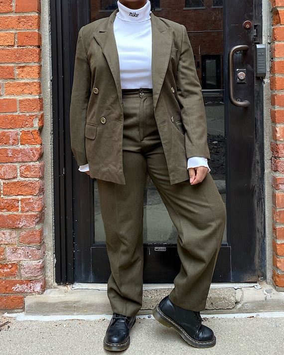 Vintage Green Suit (9/10) - Green Wool Pants Suit